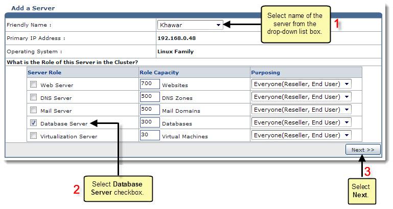 Adding a Database Server